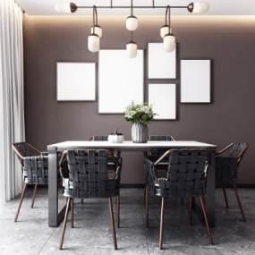 北欧餐厅桌椅组合3D模型【ID:540946126】
