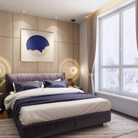 现代卧室3D模型【ID:535789281】