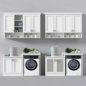 欧式洗衣机柜藤篮衣服摆件3D模型【ID:130619856】