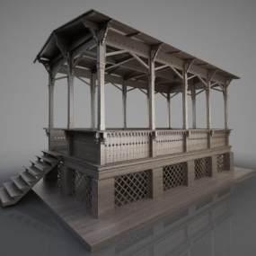 新中式古建筑亭子3D模型【ID:134759462】