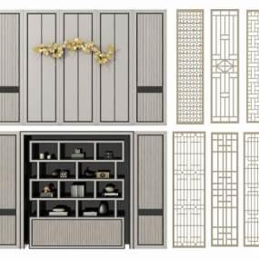 现代书架背景墙组合3D模型【ID:148474558】