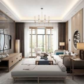 新中式客厅3D模型【ID:530428065】