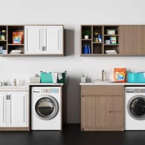 现代洗衣机摆件组合3D模型【ID:235726645】