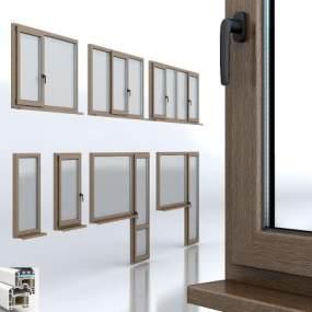 现代PVC门窗3D模型【ID:332688286】