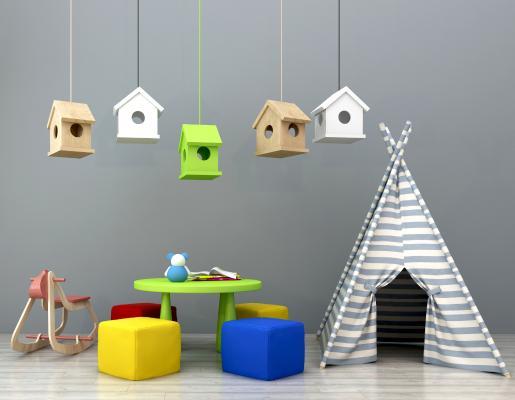 現代兒童桌椅吊燈帳蓬組合3D模型【ID:930557364】
