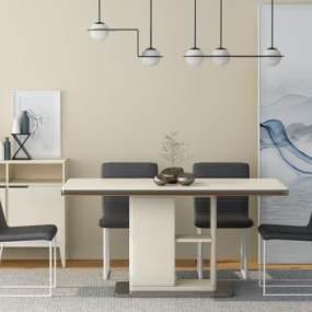 現代鋼化玻璃餐桌椅組合3D模型【ID:846767887】