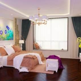 现代卧室 3D模型【ID:541300263】