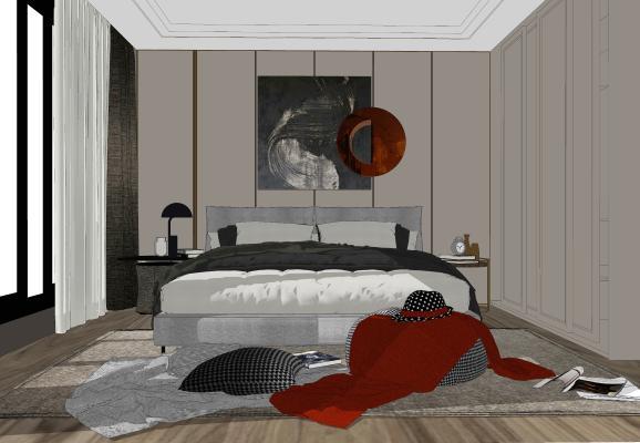 現代臥室SU模型【ID:244375322】