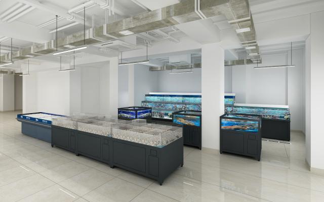 超市水池水產區魚缸區3D模型【ID:142466115】