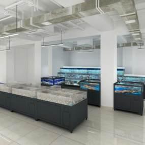 超市水池水产区鱼缸区3D模型【ID:142466115】
