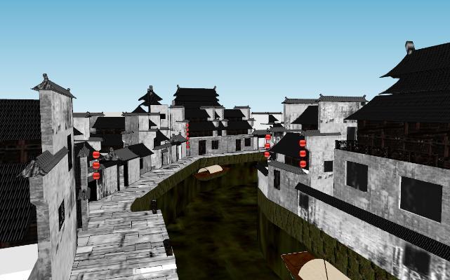 中式建筑滨水SU模型【ID:351686293】