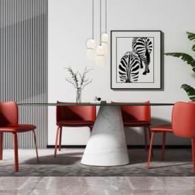 現代餐桌椅3D模型【ID:844159896】
