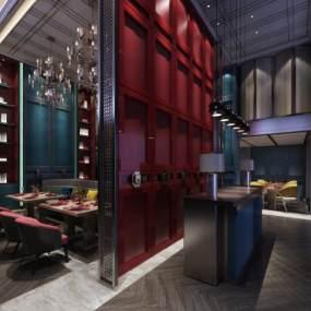 新中式餐厅3D模型【ID:632827227】