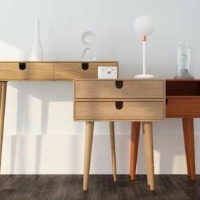 现代实木床头柜组合3D模型【ID:835805911】