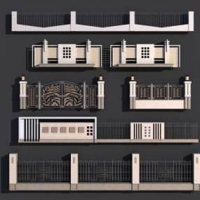 现代围墙3D模型【ID:331333440】
