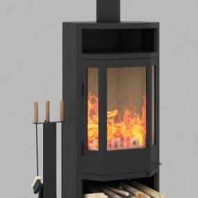 现代壁炉木柴3D模型【ID:230931806】
