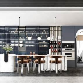 現代開放式餐廳3D模型【ID:550636156】