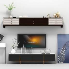 现代电视柜组合3D模型【ID:931312933】