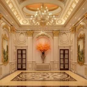 法式酒店大堂 3D模型【ID:741833073】