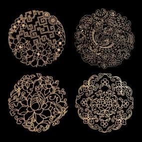 新中式金属传统花纹镂花组合3D模型【ID:231649765】