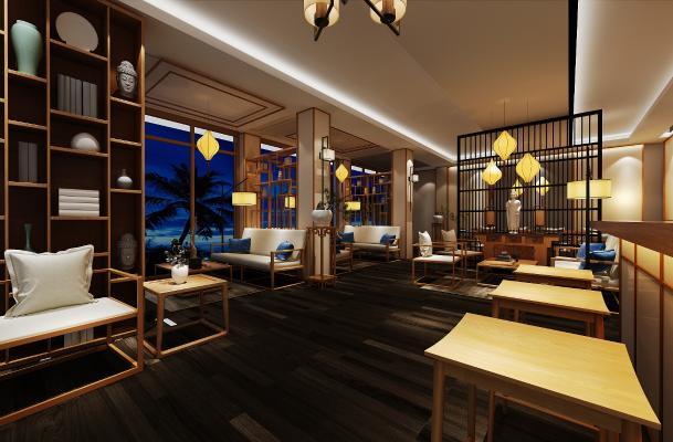 新中式茶館空間3D模型【ID:641873615】