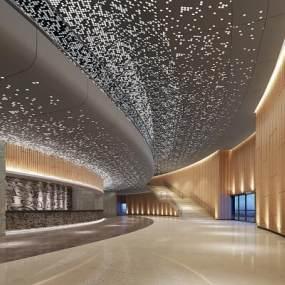 新中式酒店大堂3D模型【ID:753485039】