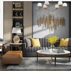现代沙发茶几餐桌椅组合3D模型【ID:635864724】