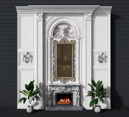 法式壁炉背景墙3D模型【ID:344236608】