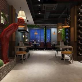 好看的现代工业风餐厅3D模型【ID:631778259】