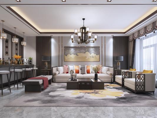 新中式客厅3D模型【ID:545892056】