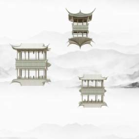 新中式徽派建筑墙饰3D模型【ID:235846502】