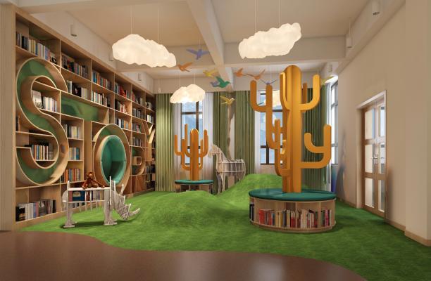 现代幼儿园阅读室3D模型【ID:941538639】