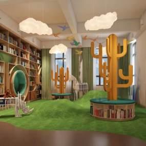 现代幼儿园阅读室 3D模型【ID:941538639】