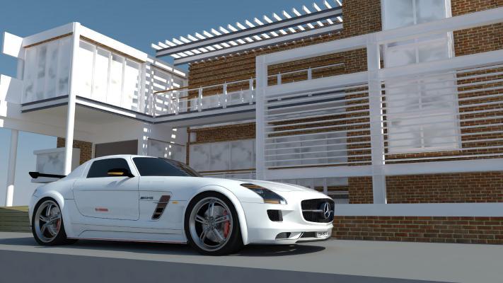 現代白色奔馳小轎跑SU模型【ID:446697990】