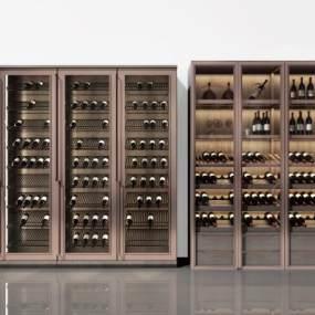 现代铝框门玻璃酒柜3D模型【ID:647097275】