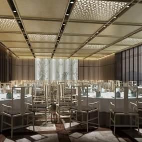 新中式酒店宴会厅3D模型【ID:734472272】