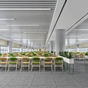 现代简约员工餐厅食堂3D模型【ID:632769928】