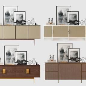 新中式现代电视柜 3D模型【ID:941480953】