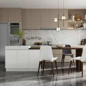 现代简约厨房 3D模型【ID:540794348】