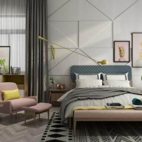 现代卧室3D模型【ID:834703793】