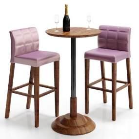 美式吧椅吧台3D模型【ID:932556254】