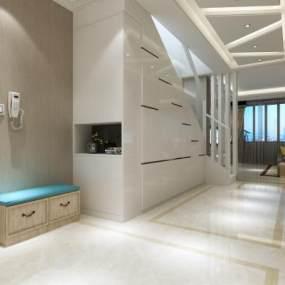 现代复式家装客厅3D模型【ID:533249064】