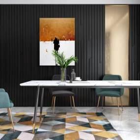 现代餐厅餐桌餐椅挂画组合3D模型【ID:531603191】