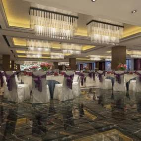 欧式餐厅3D模型【ID:653488214】