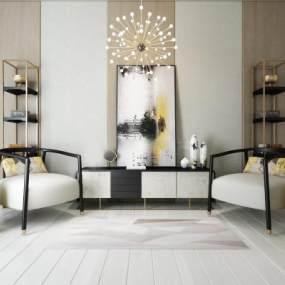 新中式单人位沙发3D模型【ID:631029402】