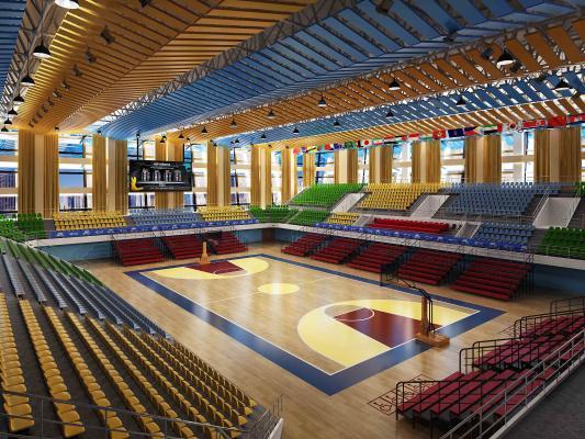 现代风格大型体育中心篮球场3D模型【ID:845368712】