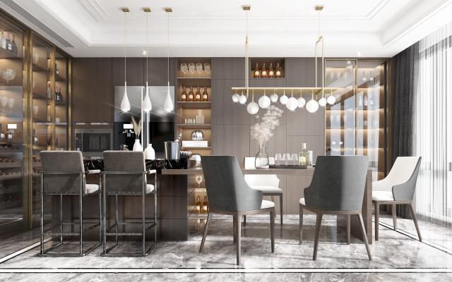 現代開放式廚房餐廳3D模型【ID:550787115】