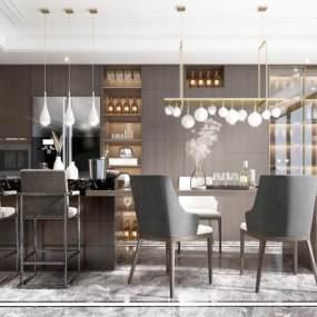 现代开放式厨房餐厅3D模型【ID:550787115】
