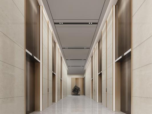 现代酒店电梯厅 摆件 电梯