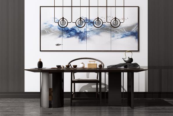新中式办公桌椅组合 艺术吊灯 洽谈桌